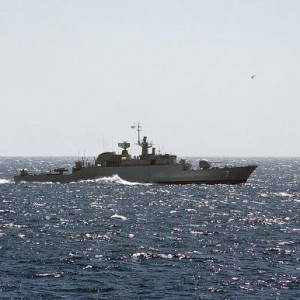 A starboard beam view of an Iranian Alvand class frigate underway.